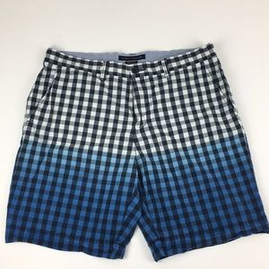 Tommy Hilfiger 35 custom fit blue plaid ombré blue